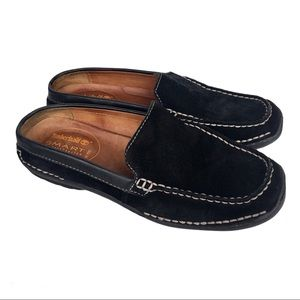 Timberland sz 6.5 black suede leather mules loafer